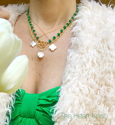 Green Onyx with Gold Heart Knot