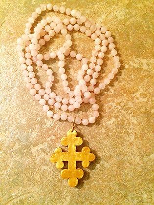 Trinity Cross on Rose Quartz Beads - 60 inch