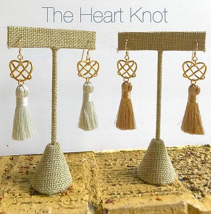 Matte Gold Heart Knot Dangles with Metallic White Tassel