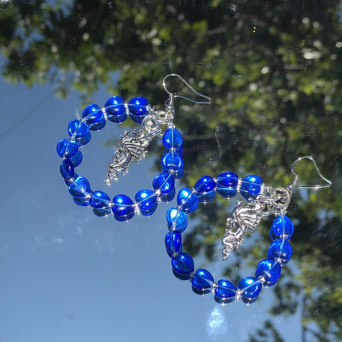 Dragon blue heart hoops