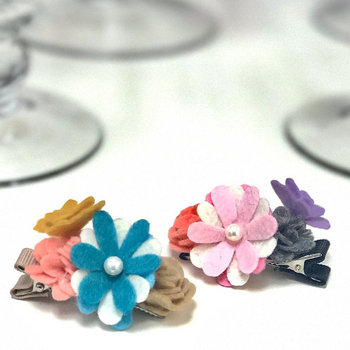 Flowers and Butterfly Hair Clips