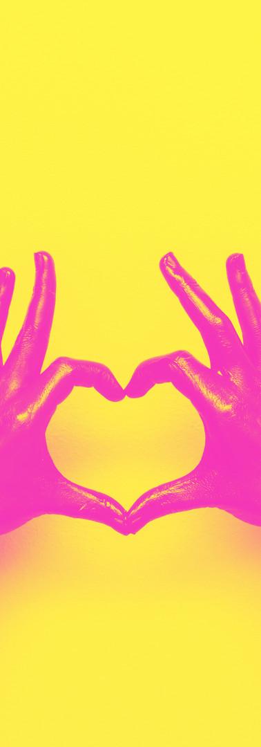 hands in black paint send heart. love an