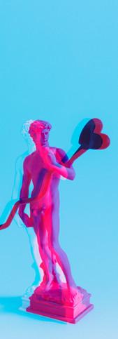 Creative concept of neon David is a mast