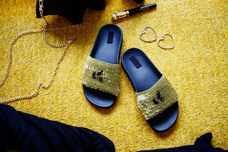 Gold tassel sliders