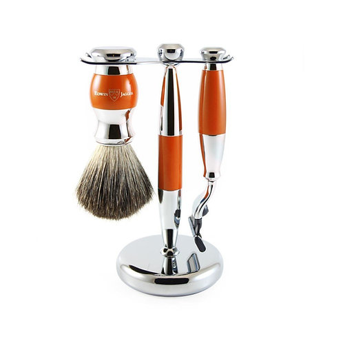 Edwin Jagger 3pc Orange & Chrome Shaving Set (Mach 3)