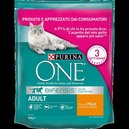 PURINA ONE BIFENSIS Gatto Adult Ricco in Pollo e Cereali Integrali 800 Gr.