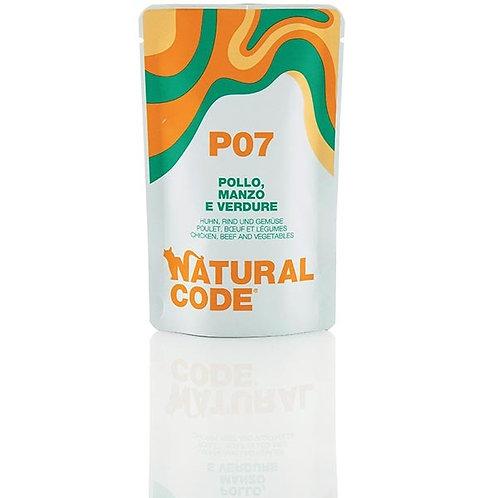 Natural Code - P07 Pollo, Manzo e Verdure in Acqua di Cottura 70 Gr.