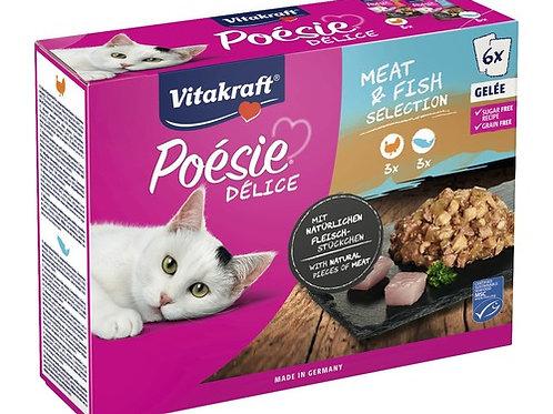 Vitakraft PoéSIE® Delice Cibo Multipack per Gatti Tacchino e Salmone in Gelatin