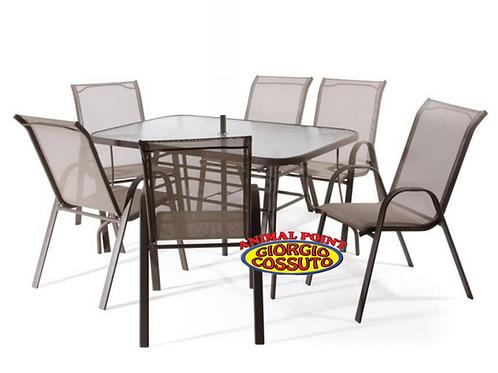 Set Tavolo con Vetro Onda Temperato e 4 Poltrone in alluminio
