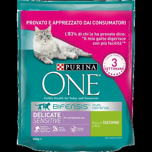 PURINA ONE BIFENSIS Crocchette Gatto Delicate Ricco in Tacchino e Riso 800 g