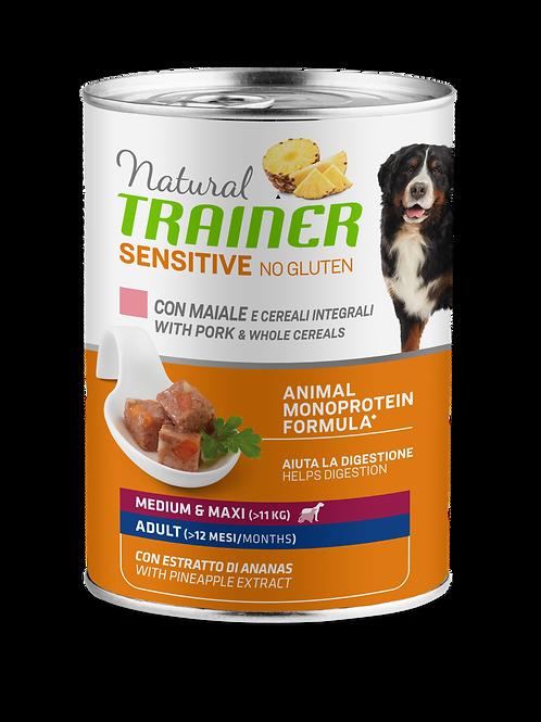Natural Trainer Sensitive No Gluten Medium&Maxi Adult con maiale, cereali 400 Gr