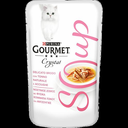 GOURMET Crystal Soup Gatto Delicato brodo con Tonno naturale e Acciughe 40 g