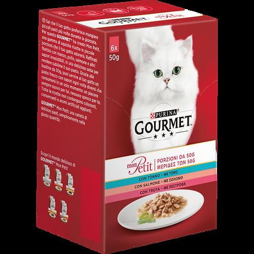 GOURMET Mon Petit Gatto con Tonno, Salmone, Trota 6 x 50 g