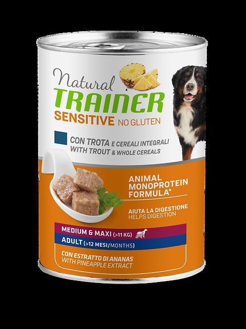 Natural Trainer Sensitive No Gluten Medium&Maxi Adult con trota e cereali 400 Gr