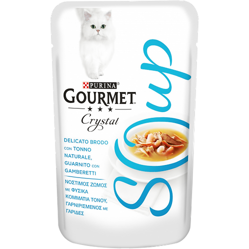 GOURMET Crystal Soup Delicato brodo con Tonno naturale, con Gamberetti 40 Gr.