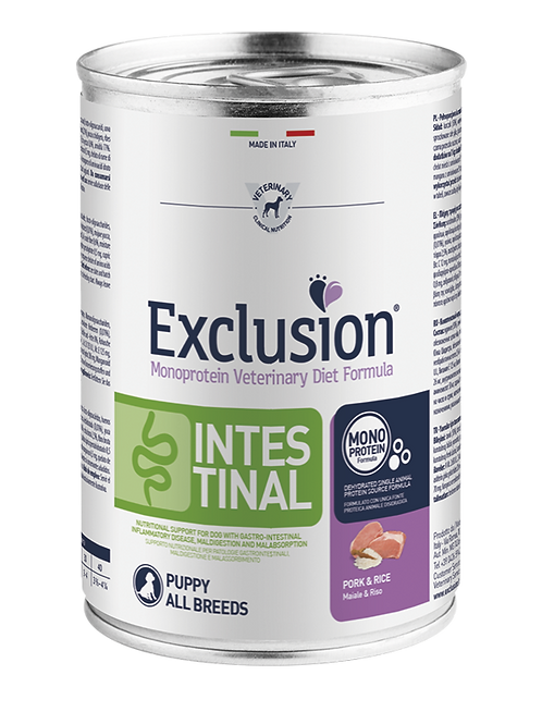 Exclusion Intestinal Puppy All Breeds Maiale e Riso 400 Gr.