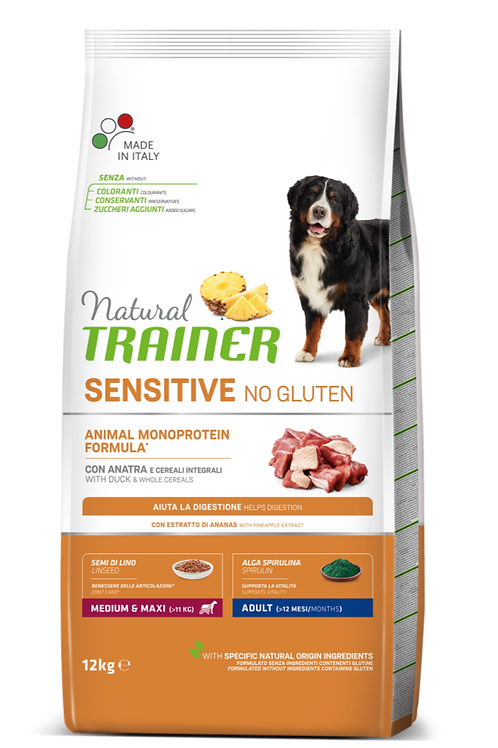 Natural Trainer Monoproteico Sensitive No Gluten Medium&Maxi Adult Anatra 12 Kg