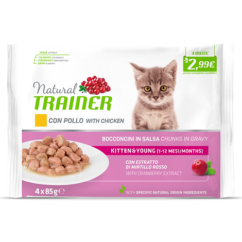 Natural Trainer  Kitten&Young Pollo Bocconcini in salsa 4x85 Gr.