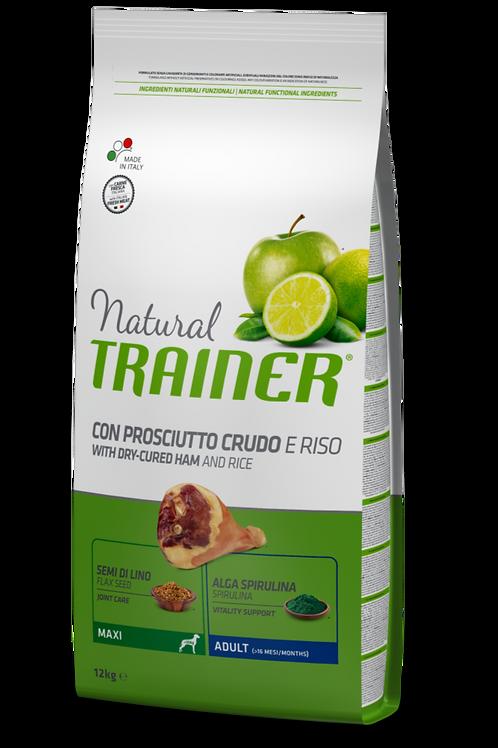 Natural Trainer Adult Maxi con Prosciutto Crudo e Riso 12 Kg.