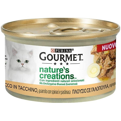 Nestle' Purina - Gourmet Nature's Creations, Tacchino con Spinaci e Pastinaca 85
