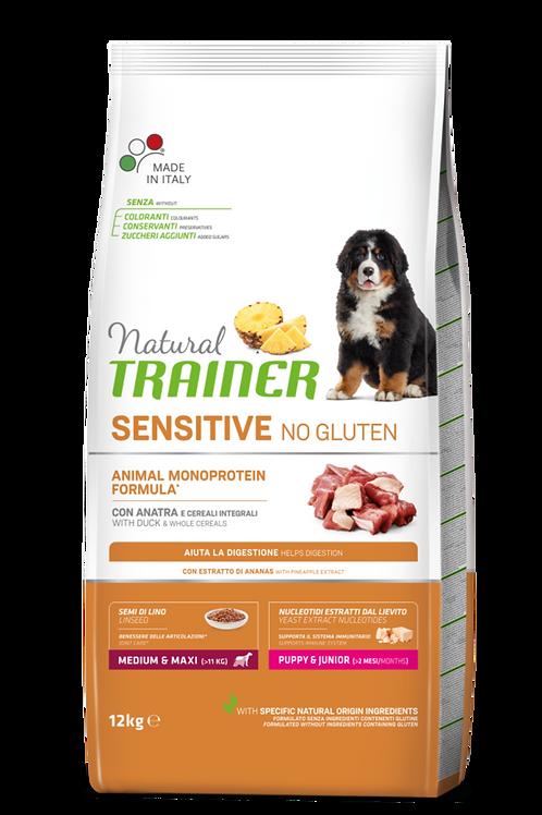 Natural Trainer Monoproteico Sensitive No Gluten Medium&Maxi Puppy Anatra 12 Kg