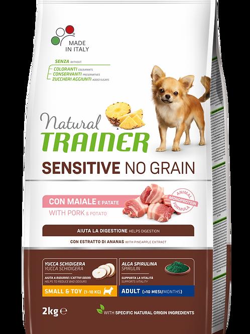 Natural Trainer No Grain Sensitive No Grain Small & Toy Adult con maiale patate