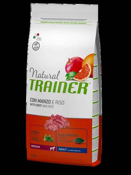 Natural Trainer Adult Medium con Manzo e Riso 12 Kg.
