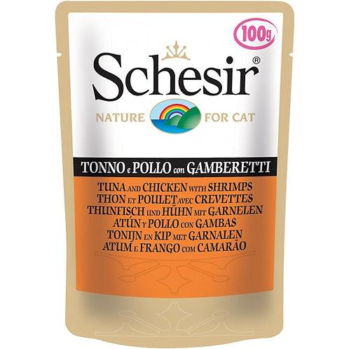 Schesir - Tonnetto e Pollo con Gamberetti in Gelatina 100 Gr.