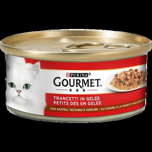 GOURMET Rosso Gatto Trancetti in gelatina con Tacchino, Anatra e Verdure 195 Gr.