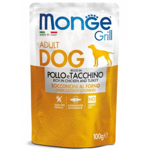 Monge Grill Adult Bocconcini al Forno con Pollo e Tacchino 100 Gr.