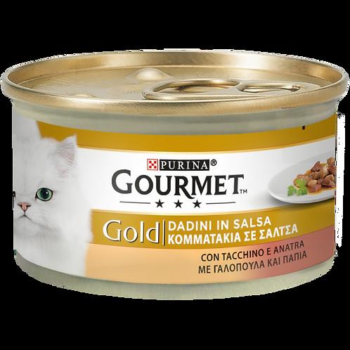 GOURMET Gold Gatto Dadini in Salsa con Tacchino e Anatra 85 Gr.