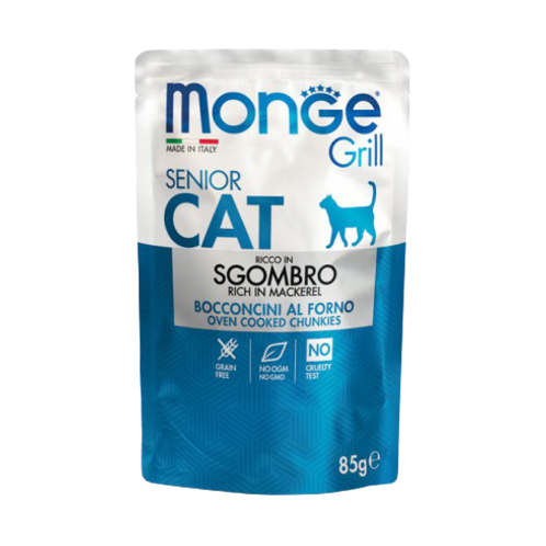 Monge Grill Cat Senior Bocconcini in Jelly Sgombro da 85 Gr