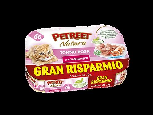 Petreet Natura Tonno Rosa con Gamberetti Multipack 6 Lattine x 70 gr