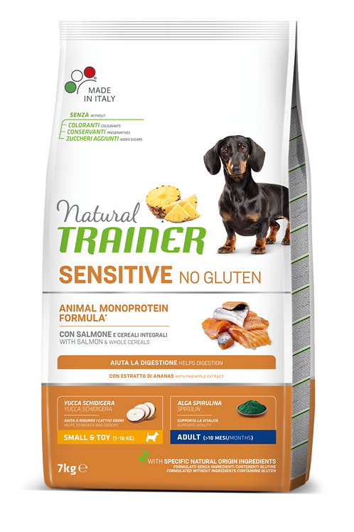 Natural Trainer Sensitive No Gluten Monoproteico Mini Adult con Salmone 7 Kg.