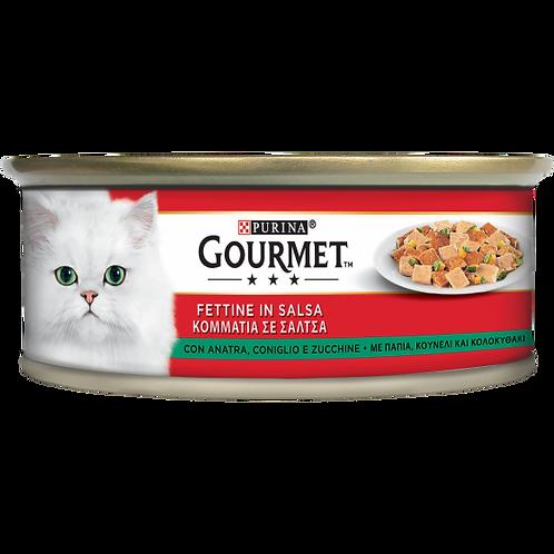 GOURMET Rosso Gatto Fettine con Anatra, Coniglio e Zucchine 195 Gr.