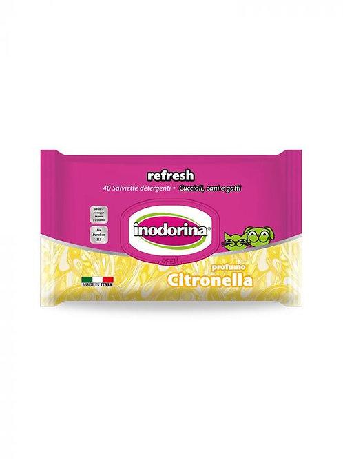 Inodorina Refresh - 40 Salviette Detergenti - Profumazione Citronella