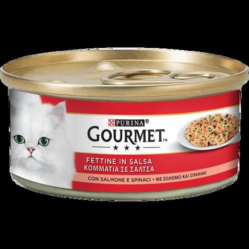 GOURMET Rosso Gatto Fettine con Salmone e Spinaci 195 Gr.