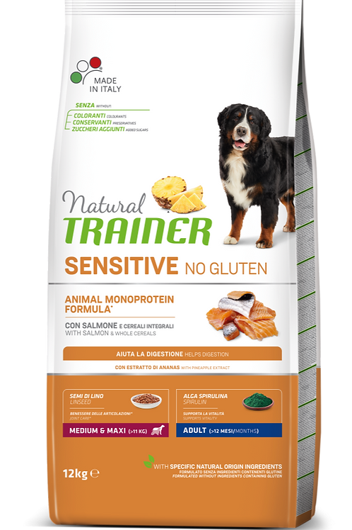 Natural Trainer Monoproteico Sensitive No Gluten Medium&Maxi Adult Salmone 12 Kg