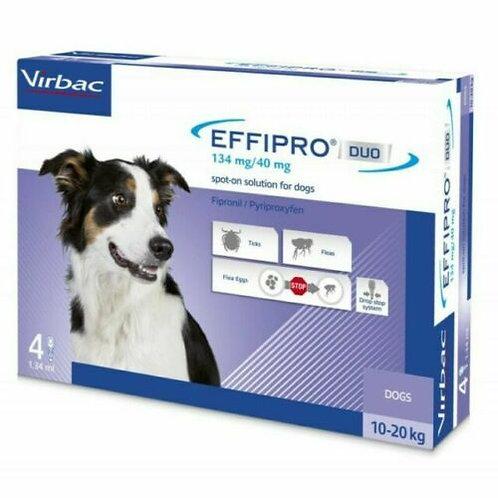 Virbac-Effipro Duo Spot-On contro pulci,uova,larve e zecche Cane M 10-20 Kg.