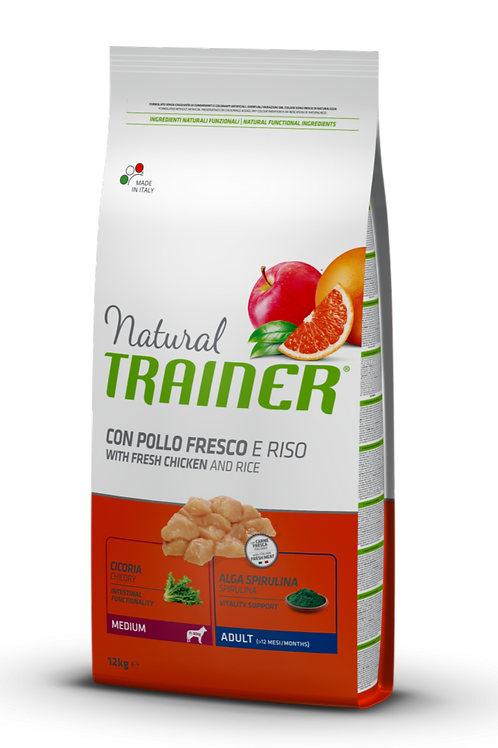 Natural Trainer Adult Medium con Pollo e Riso 12 Kg.