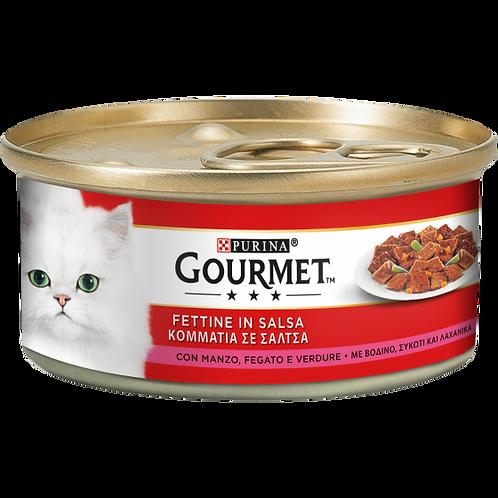 GOURMET Rosso Gatto Fettine con Verdure, Manzo e Fegato 195 Gr.
