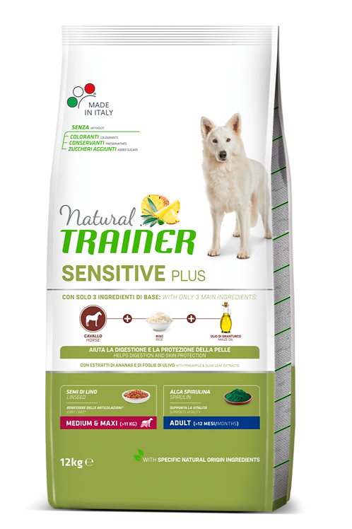 Natural Trainer Sensitive Plus Medium&Maxi Adult con Cavallo,riso,olio 12 Kg.