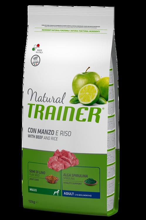 Natural Trainer Adult Maxi con Manzo e Riso 12 Kg.