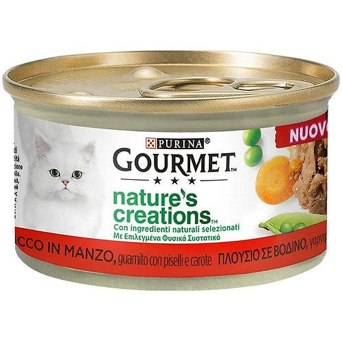 Nestle' Purina - Gourmet Nature's Creations, Manzo con Piselli e Carote 85Gr.