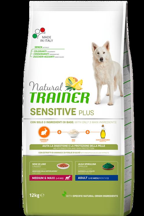 Natural Trainer Sensitive Plus Medium&Maxi Adult con coniglio,riso,olio 12 Kg.