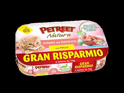 Petreet Natura Tonno Rosa con Pollo Multipack 6 Lattine x 70 gr
