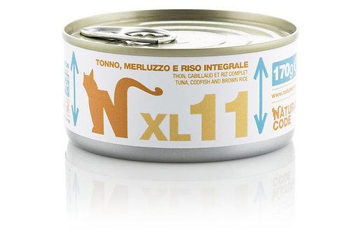Natural Code Gatto Adult XL11 Tonno, Merluzzo e Riso Integrale 170 Gr.