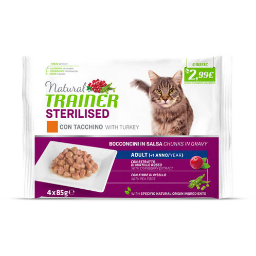 Natural Trainer Adult Sterilised Tacchino Bocconcini 4x85 Gr.
