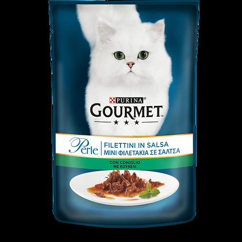 GOURMET Perle Gatto Filettini in Salsa con Coniglio 85 Gr.