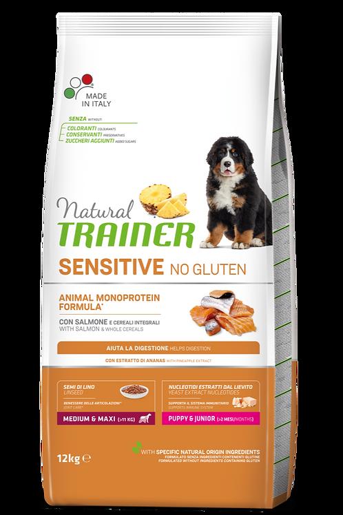 Natural Trainer Monoproteico Sensitive No Gluten Medium&Maxi Puppy Salmone 12 Kg